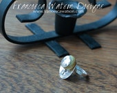 Argentium Silver and Yellow Glass Bead Ring - FREE U.S. SHIPPING