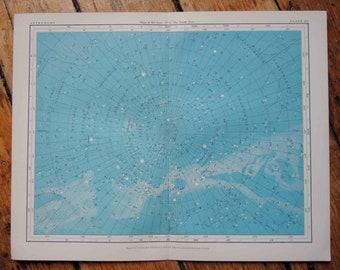 1908 south pole blue astronomy chart original antique celestial print