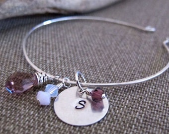 Sterling Silver Charm Bangle Bracelet - Personalized Bangle - Initial Charm Bracelet - Hand Stamped Initial, Swarovski Crystals.Silver Cuff