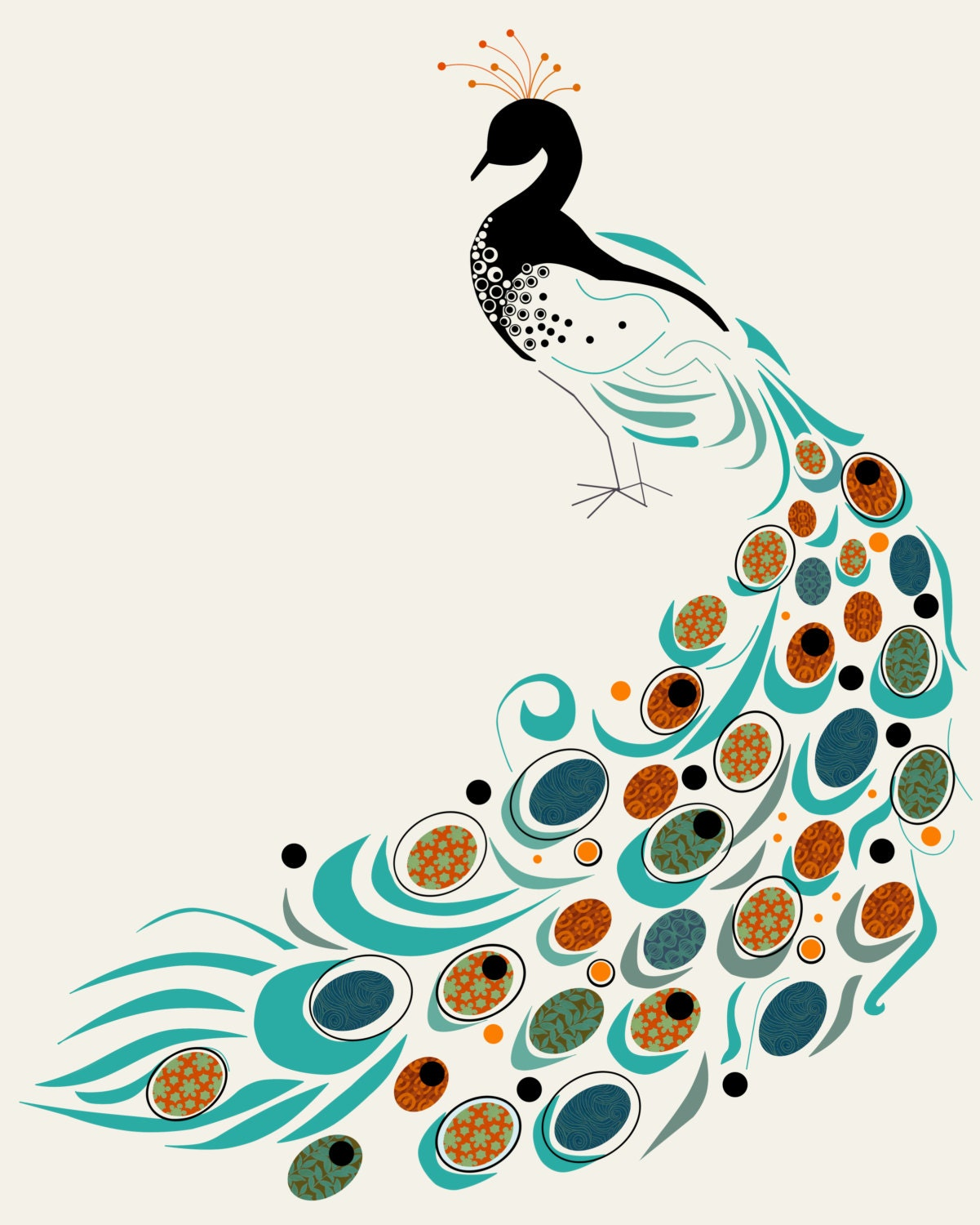 Items Similar To Art Print Peacock Mid Century Modern