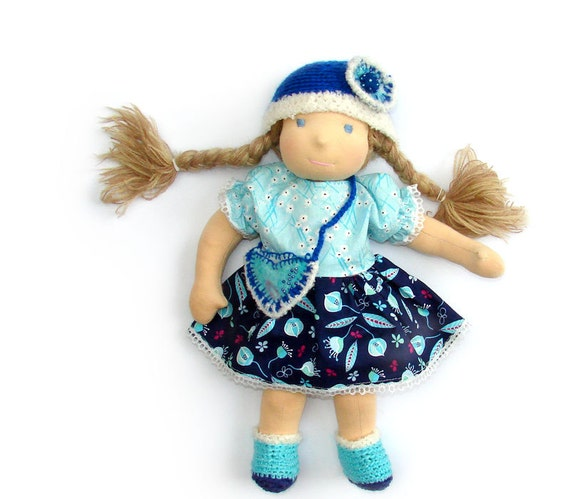 Clothes - cotton dress for  waldorf doll 16 in turquoise and blue eco friendly gifts for kids