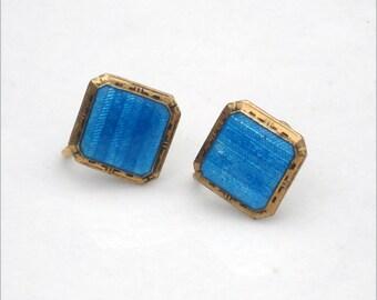 Art Deco Guilloche and Blue Enamel Earrings