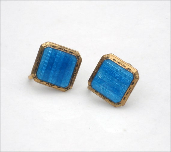 Art Deco Guilloche and Blue Enamel Earrings