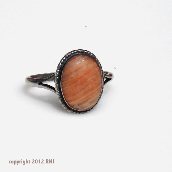Antique Sterling SIlver Scottish Pebble Agate Ring
