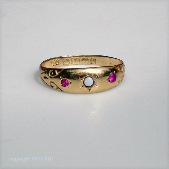 Edwardian 18K Gold Wedding Band with Rubies and Opal