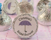 """Lilac Umbrella Bridal Shower Round Candy Stickers Labels Kiss Favors - Set of 192 Stickers, 3/4"""" Custom Circle Stickers Labels"""