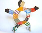 OOAK Hand painted wooden sculpture - Patchwork Man II