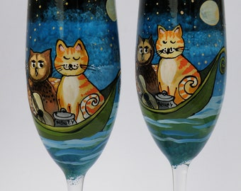 Hand painted Wedding Toasting Flutes Set of 2 Personalized Champagne glasses The Owl and the Pussy-Cat (Edward Lear poem).