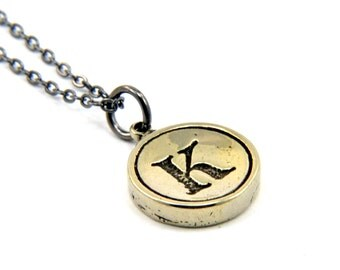 Letter K Charm Necklace - White Bronze Initial Typewriter Key Charm Necklace - Gwen Delicious Jewelry Design