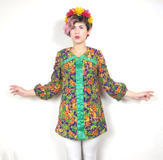 60s Groovy Neon Floral Tunic (XS/S)