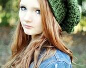 Dark Green Slouchy Beanie Crochet Beanie Oversized Beanie Hat for Women Teen Hat Crochet Hats Green Hat Extra Long Beanie Beenies Knit Hat