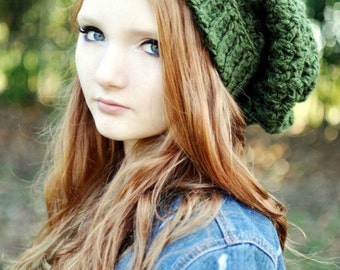 Dark Green Slouchy Beanie Crochet Beanie Oversized Beanie Hat for Women Teen Hat Crochet Hats Green Hat Extra Long Beanie Beenies Knit Hat