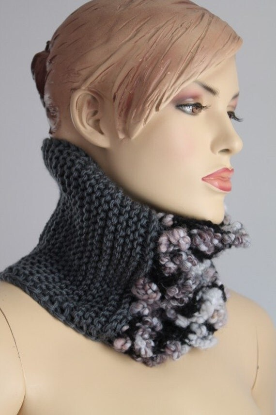 Fall Fashion - Grey Hand Knit Cowl Scarf - Neck Wormer - Winter Accessories