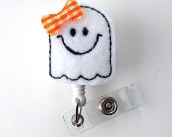 Ms. Happy Ghost - Unique ID Badge Reel - Name Badge Holder - Cute Badge Reel - Nurse Badge Holder - Nursing Badge Clip - Felt Badge