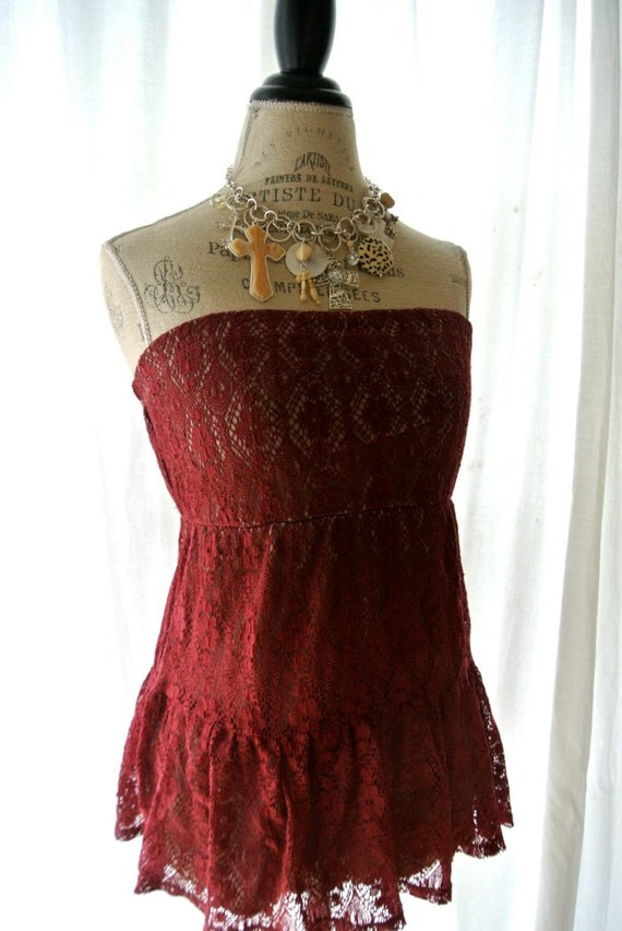 Country chic lace shirt, cottage chic, french country clothing, crimson red, womens clothing, shabby chic clothing, red