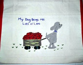 dog pulling a wagon full of hearts -  whimsical, hand painted canvas tote bag