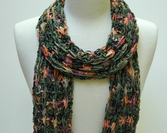 Scarf-Hand Knit- Cotton/ Mauve /Coral /Olive /Forest Green