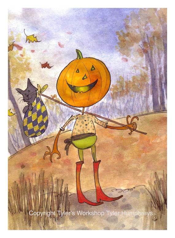 Halloween Greeting Card - Autumn Fall Pumpkin Jack O Lantern Watercolor Painting Illustration Cartoon Print