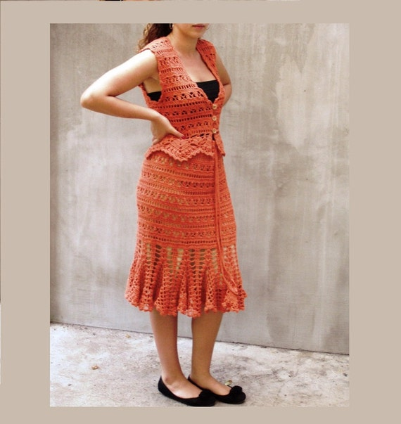 Crochet dress, Lace dress, Cotton dress, Rustic lace, Terra cotta dress, Summer dress, feminine, Orange dress, Fashion dress, Tango dress,