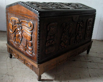 MOD-LOVE SALE! Vintage Antique Trunk Hope Chest ,Witco Style Blanket Chest trunk Exotic Carved Storage Trunk hope chest
