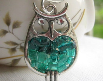 Turquoise Stained Glass Nugget Antiqued Silver Owl Pendant Necklace, Crystal Eyes, Two- toned Blue Green Owl Jewelry