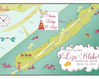 100 5x7 Prints - Custom Wedding Map Save the Date - Any City!