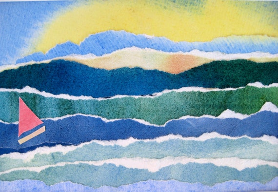 Watercolor Collage Ocean Waves with Tiny Sailboat Torn Paper Art in 8 by 10 Matt Beach Decor