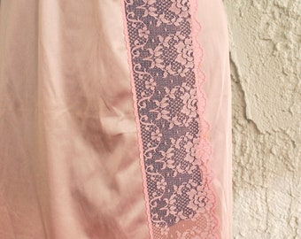 Vintage Pink Peek-A-Boo Lace Slip - Small