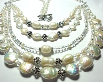 Pearl Necklace 5 Strand Genuine Pearl Necklace w Freshwater Baroque and Coin Pearls Designer Bib Statement Wedding Necklace with Sterling