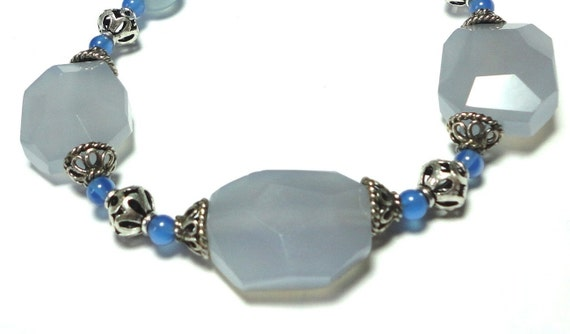 Blue Chalcedony Necklace with Sterling Bali Beads and Sterling Toggle All Natural Blue Chalcedony Gemstones