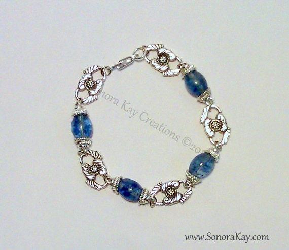 Blueberry Quartz Bracelet with Silver Roses  size 7.5