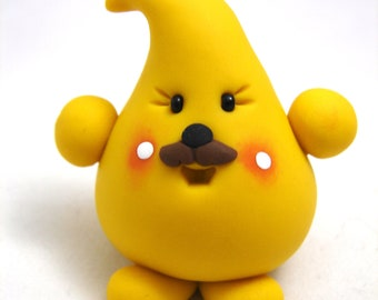 PARKER with Mustache - Polymer Clay Character Figurine Totem