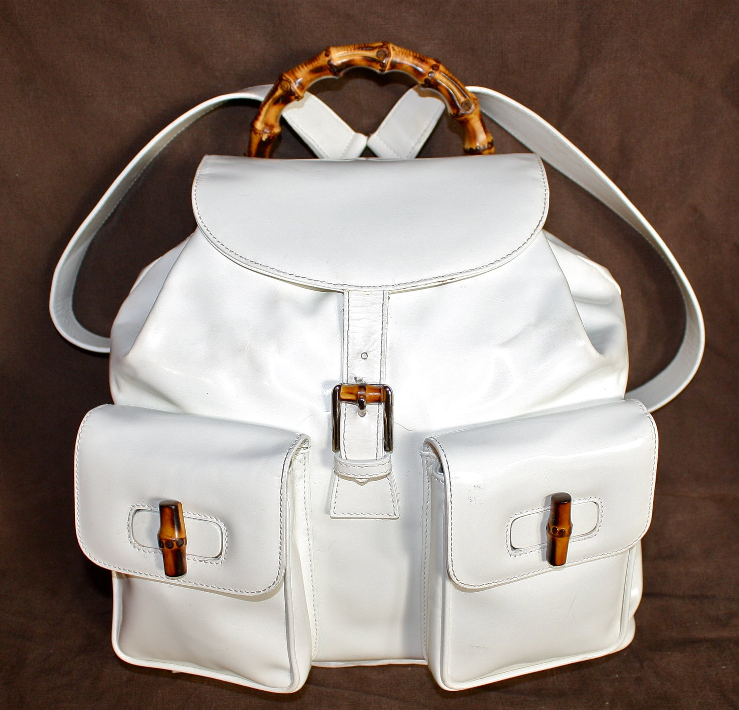 Vintage GUCCI Backpack White Patent Leather Bamboo Large