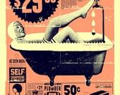 """Vintage Bathroom Art print 12"""" x 16"""""""
