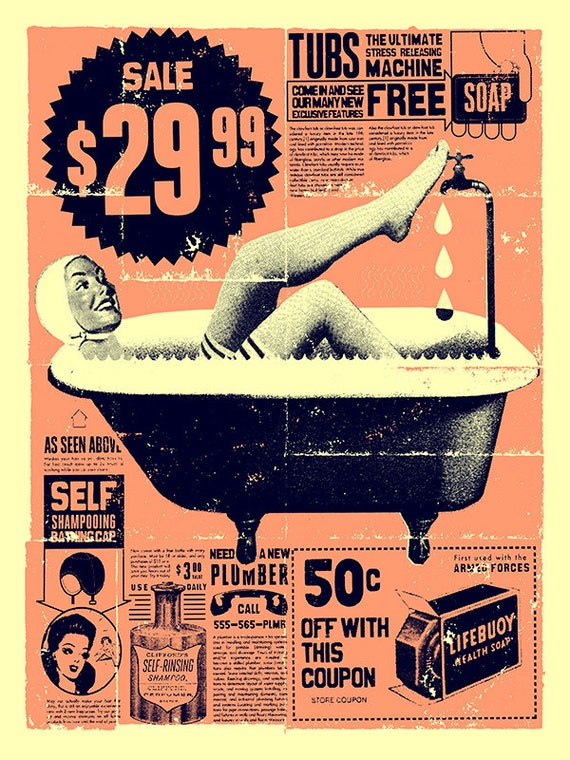 "Vintage Bathroom Art print 12"" x 16"""