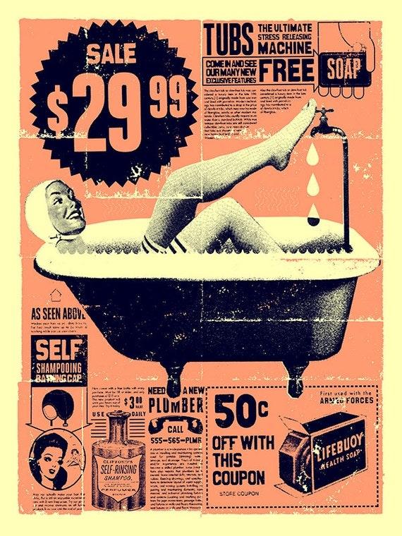 """HOLIDAY SALE! Vintage Bathroom Art print 12"""" x 16"""""""