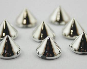 50 pcs Acrylic Silver Cone SPIKES RIVETS Studs Dog Collar Leather Craft Decorations Findings 10 mm. CHPC10