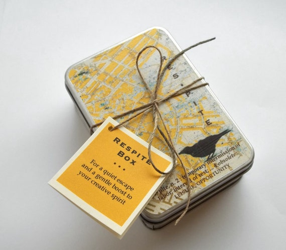 Respite box meditation kit --  words and objects to soothe your mind and kindle your creative spirit