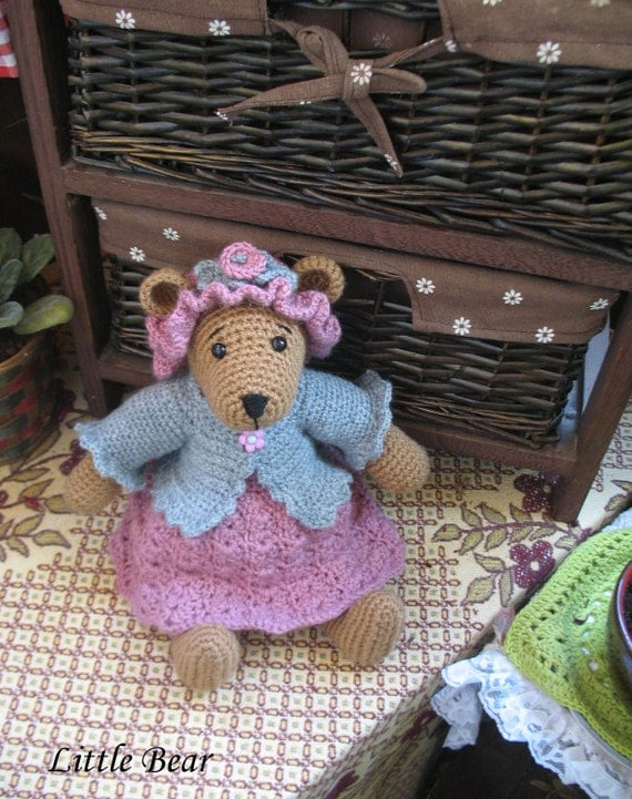 OOAK crocheted little bear with removeable clothes  So very adorable