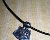 Pewter Celtic Thor's Hammer Mjöllnir Axehead Pendant Greek Leather Necklace