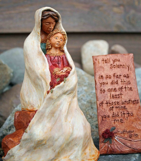 "Religious Sculpture  Mother and Child Clay Sculpture - ""Least of Mine""  OOAK"