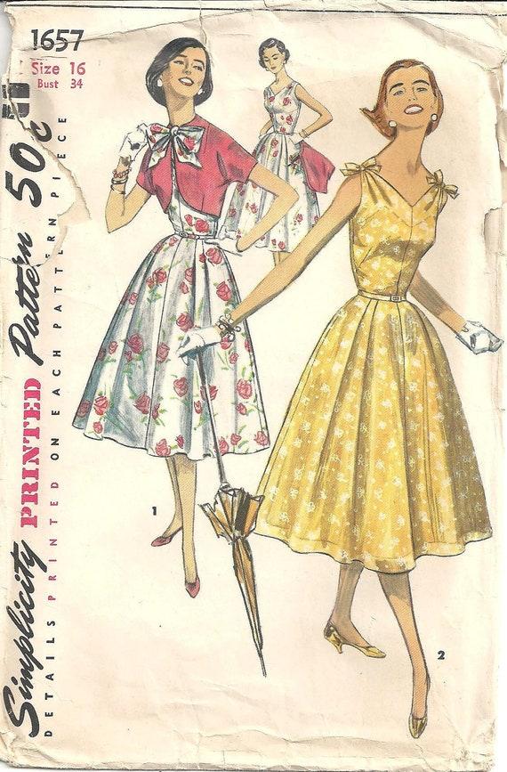 1950s Womens Daydress Bolero - Vintage Sewing Pattern Simplicity 1657 - Bust 34 Size 16