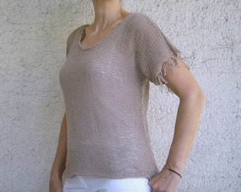 SALE % 25 off Women Sweater with Fringe, Milky Brown Cotton Sweater