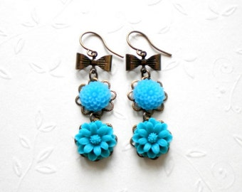 Turquoise Earrings Flower Earrings Gift For Teen Girl Turquoise Dangle Earrings Flower Cabochons Blue Sea Earring Bow Earring Flower Jewelry