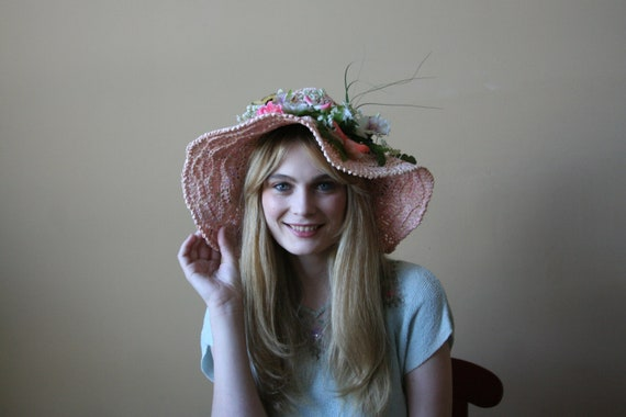 60s Floppy Easter Hat / Put a Bird in it / Flowers and Nature Hat / Butterflies in the Leafs Hat