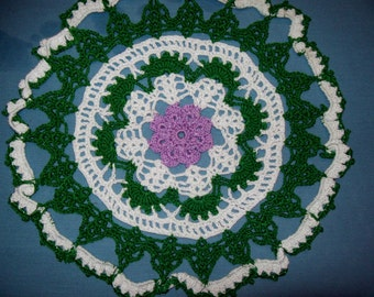 Floral Doily Colorful Crochet Lacy Doily Violet Flower Round Cotton Doily