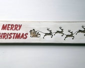 Merry Christmas Santa's Sleigh and Reindeer Wood Sign