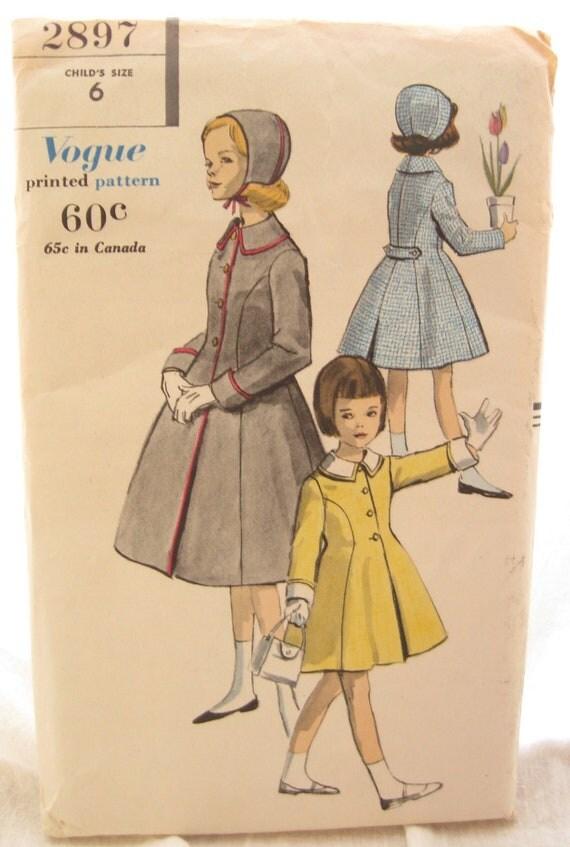 Vogue 2897 Rare 1950s Girls Princess Coat Vintage Sewing Pattern Size 6