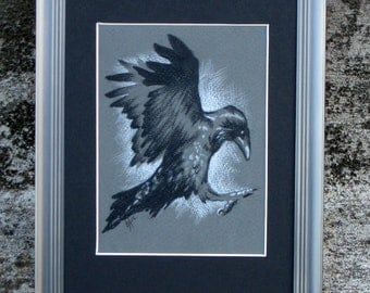 Flying Raven Small Original Drawing