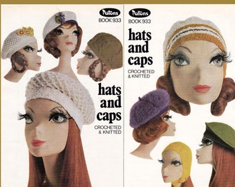 Patons 933 Knitting Crochet Hats & Caps Patterns Original 70s Vintage Pattern Booklet  NOT PDF
